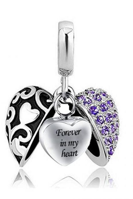 Unique call heart urn funeral ashes cremation necklace fashion jewelry accessorues Forevery in my Heart
