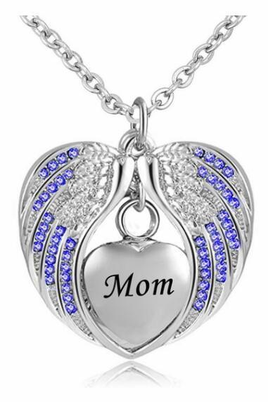 Mom Cremation Jewelry for Ashes Keepsake Angel Wing Urn Necklace Stainless Steel Waterproof Memorial Pendant