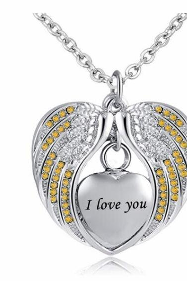 Cremation Urn Necklace for Ashes Angel Wing Jewelry Heart Memorial Pendant and Birthstones Necklace - I Love You