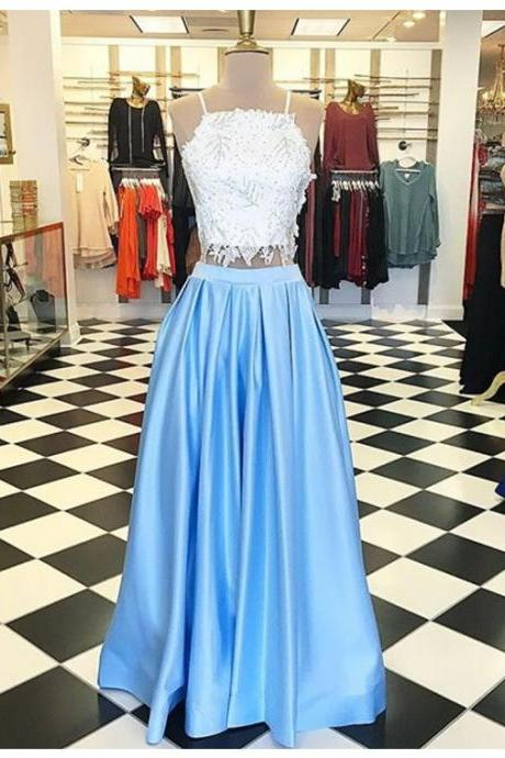 Two peices Lace Prom Dress Custom MADE wEDDING pARTY gOWNS , Cheap Evening Dresses