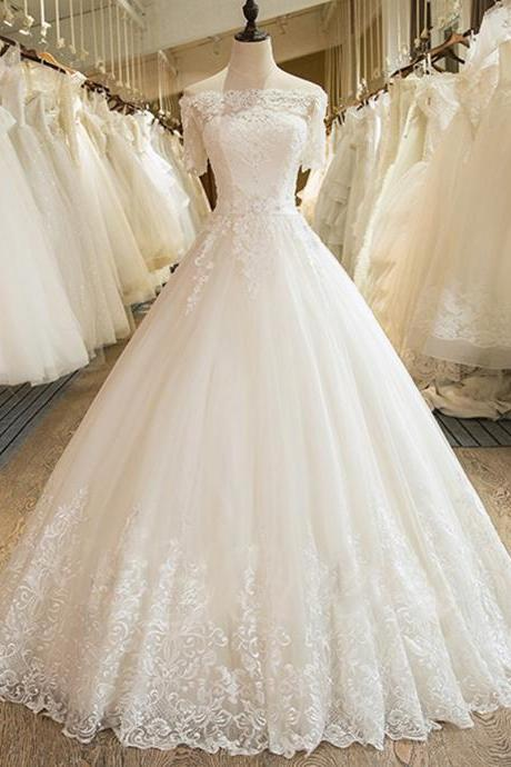 Long A Line Crystal Beading Tulle Wedding Dresses With Half Sleeve Bridal Dress Plus Size Wedding Gowns 2020