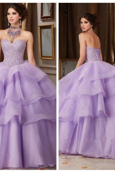 2020Sexy Sweetheart Ball Gown Light Purple Quinceanera Dresses Beaded Crystal Tiered Prom Party Gowns Long Vestidos De Soiree