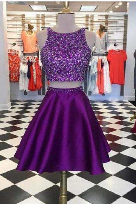 Two Pieces Purple Satin Short Homecoming Dress ,A Line Short Cocktail Party Gowns ,Plus Size Homecoming Party Gowns
