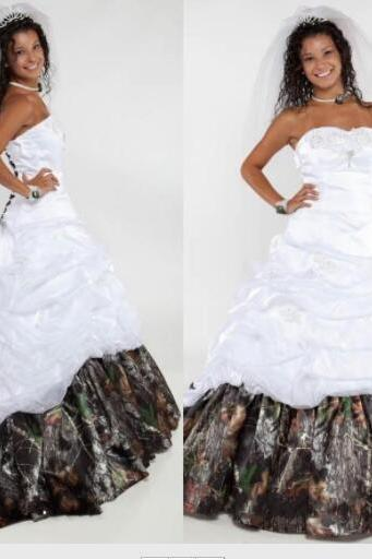 Sweetheart Satin Camo Ball Gown Wedding Dresses 2020 Attractive Ruffles Chapel Train Bridal Gowns Lace Up Ribbon Plus Size Wedding Dress
