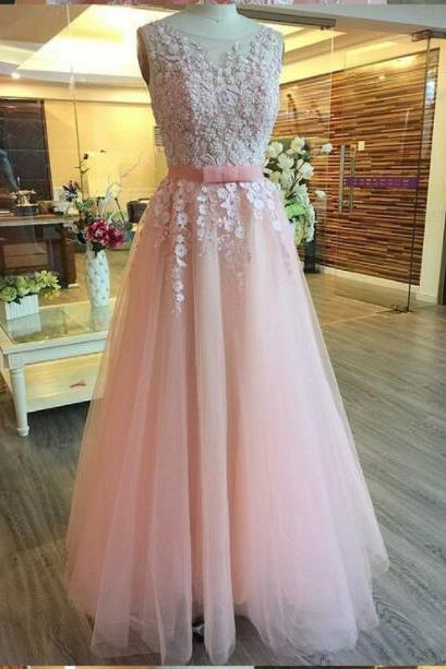 Pink Beaded Lace Formal Evening Dress A lINE Scoop Neck Backless Sexy Women Prom Gowns 2020