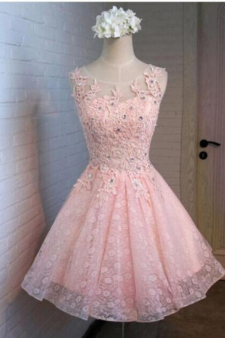 Pink Tulle Lace Beaded Short Homecoming Dress, Cheap Tulle Prom Gowns