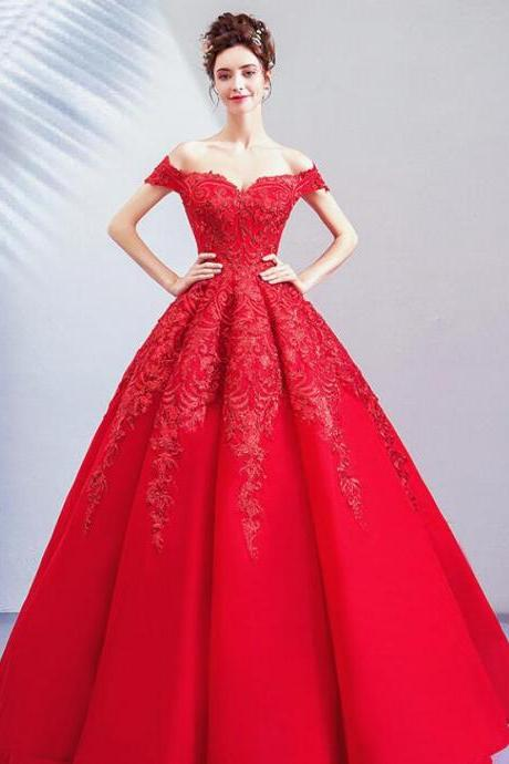 Red Ball Gowns Sweetheart Long Prom Dresses Strapless Women Pageant Gowns , Sexy Women Party Gowns 2020