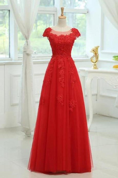 Red Lace Appliqued Long Prom Dress Sheer Neck Women Party Gowns Plus Size Evening Dress 2020