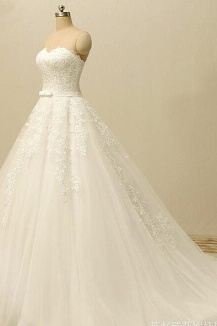 Plus Size White Lace Ball Gown Wedding Dresses Sweet China Women Bridal Gowns , Wedding Gowns 2020