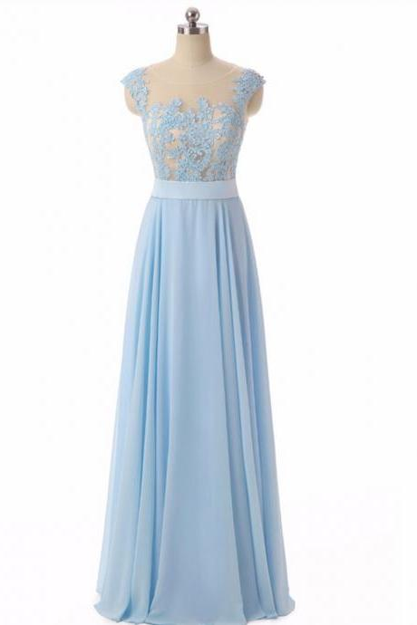 Plus Size Light Blue Chiffon Long Prom Dress Custom Made Wedding Party Gowns Formal Evening Dress 2020