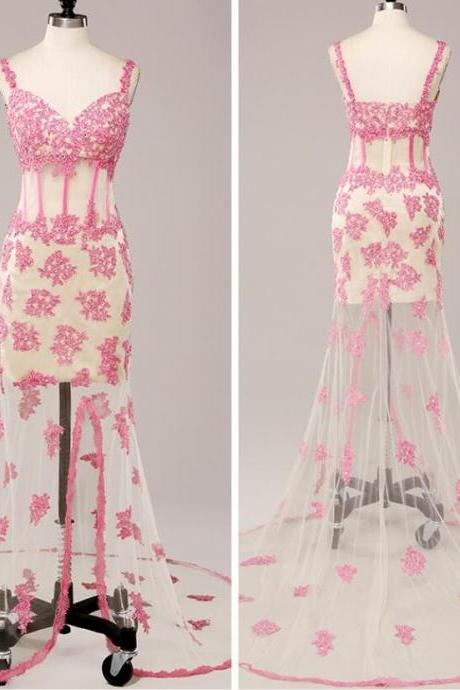 New Arrival Pink Spaghetti Strap Long Prom Dress Beaded With Appliqued Women Party Gowns ,Custom Made Wedding Party Gowns