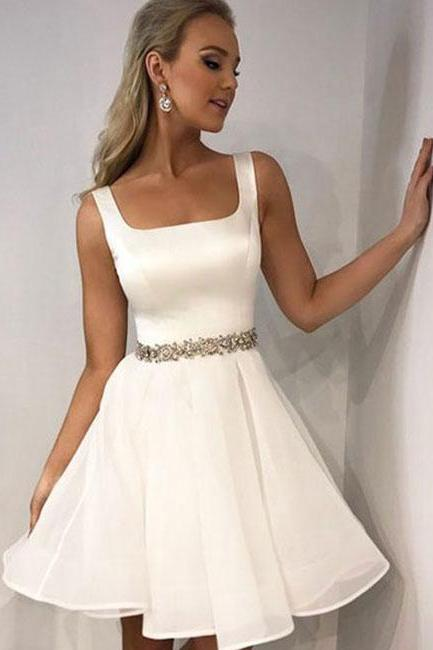 Simple White Beaded Tulle Short Homecoming Dress