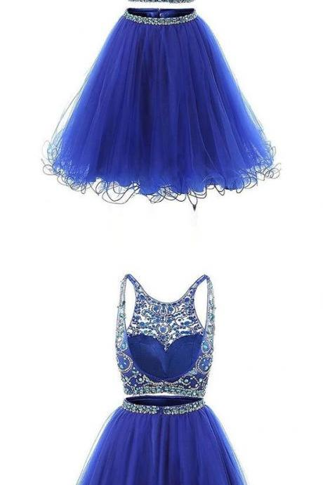 Charming Two Pieces Royal Blue Beaded Short Homecoming Dress ,Custom Made Women Party Gowns , 2 Pieces Cocktail Gowns