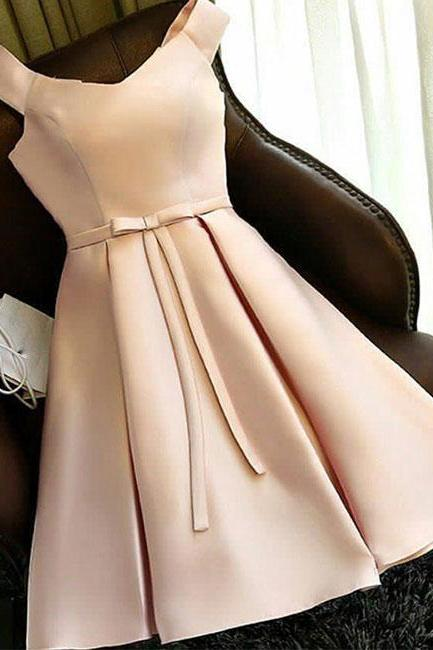 Simple Light Champagne Satin Short Bridesmaid Dress, Sweet 16 Prom Dress, Custom Made Prom Party Gowns