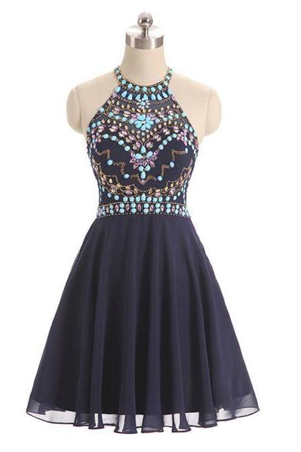 Sexy Halter Beaded Navy Blue Short Homecoming Dress Off Shoulder Women Party Gowns , Mini Wedding Guest Gowns