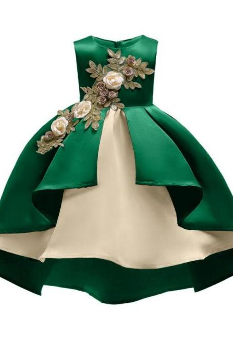 Cute Green Satin Short Prom Dress Ball Gown Embroidery Lace Communion Party Gowns Cheap Kids Party Gowns