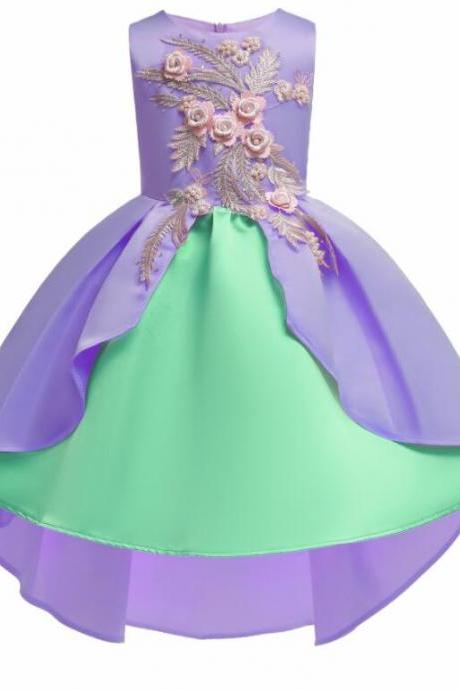 Cute Light Puple Satin Short Prom Dress Ball Gown Embroidery Lace Communion Party Gowns Cheap Kids Party Gowns