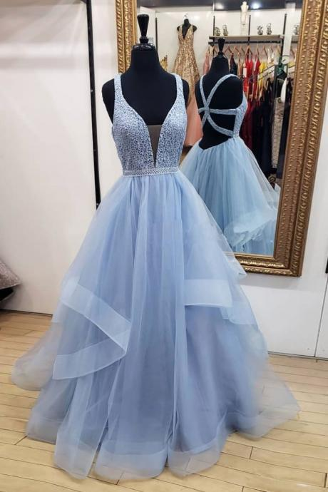 Sexy Backless Light Blue Tulle Beaded Long Prom Dress A Line Women Party Gowns Plus Size Prom Gowns 2020