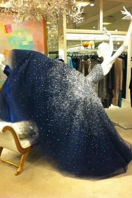 Charming Dark Blue Beaded Ball Gown Prom Dresses Off Shoulder Women Quinceanera Dress Plus Size Party Gowns