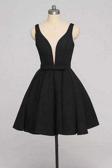 Black Short Homecoming Dress Custom Made A Line Cheap Short Prom Dress , Junior Party Dresses