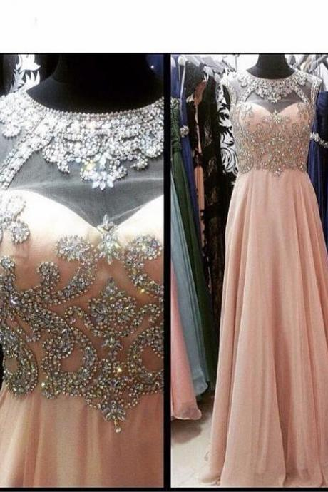 Charming A Line Beaded Light Pink Chiffon Long Prom Dresses Strapless Women Party Gowns Custom Made Wedidng Party Dress