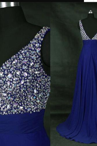 V-Neck Royal Blue Beaded Royal Blue Chiffon Prom Dress Charming A Line Prom Party Gowns , Long Bridesmaid Dress
