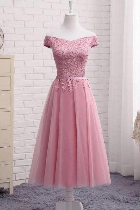 Cheap A Line Tea Length Pink Tulle Lace Homecoming Dress Lace Up Short Prom Party Gowns ,Wedding Guest Gowns