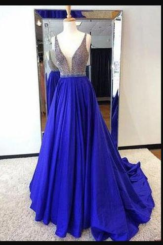 Charming Royal Blue Beaded A Line Long Prom Dresses Plus Size Women Party Gowns , Formal Evening Dress 2020