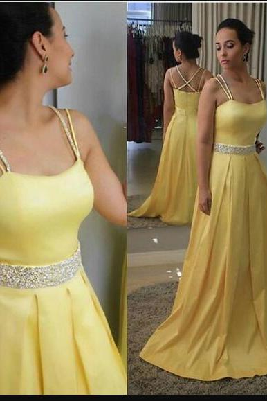Charming A Line Spaghetti Strap Beaded Long Prom Dress Custom Made Prom Party Gowns ,Yellow Satin Beaded Prom Dress