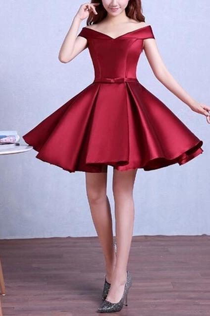New Arrival Burgundy Satin Short Prom Dress,Cheap Mini Prom Dress, Short Cocktail Party Gowns 2020