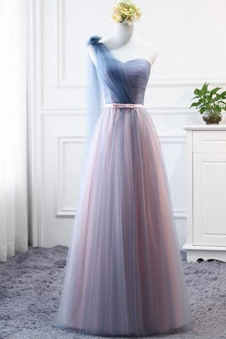 Simple One Shoulder Long Prom Dress Ruffle Prom Party Gowns Custom Made Evening Dress, Wedding Party Gowns