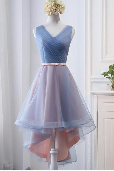 High Low Cheap Ruffle High Low Bridesmaid Dress A Line Wedding Party Gowns 2020 High Low Prom Gowns ,Sexy V-Neck High Low Prom Dress