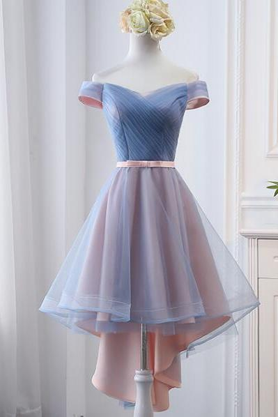 High Low Cheap Ruffle High Low Bridesmaid Dress A Line Wedding Party Gowns 2020 High Low Prom Gowns ,Sexy Sweetheart High Low Prom Dress