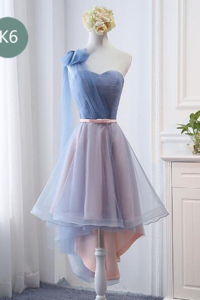 High Low Cheap Ruffle High Low Bridesmaid Dress A Line Wedding Party Gowns 2020 High Low Prom Gowns ,Sexy One-Shoulder High Low Prom Dress