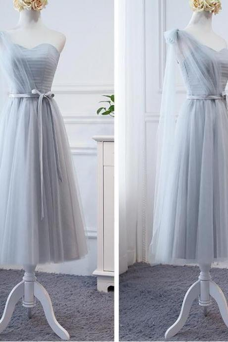 Sexy One Shoulder Silver Tulle Tea Length Bridesmaid Dresses A Line Wedidng Party Gowns , Short Bridesmaid Party Gowns 2020