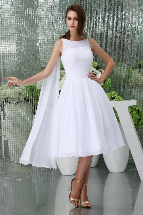 Simple White Chiffon Scoop Neck Short Homecoming Dress Tea Length Short Cocktail Dress ,Short Prom Dress ,Custom Made Party Gowns 2020