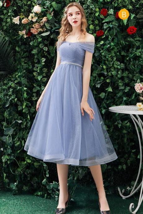 Fashion A Line Light Blue Ruffle Short Bridesmaid Dress Sweet Women Party Gowns , A Line Short Bridesmaid Party Gowns