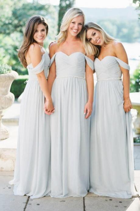 Off Shoulder Light Gray Chiffon Long Bridesmaid Dress Custom Made A Line Wedding Guest Gowns ,Cheap Ruffle Prom Gowns