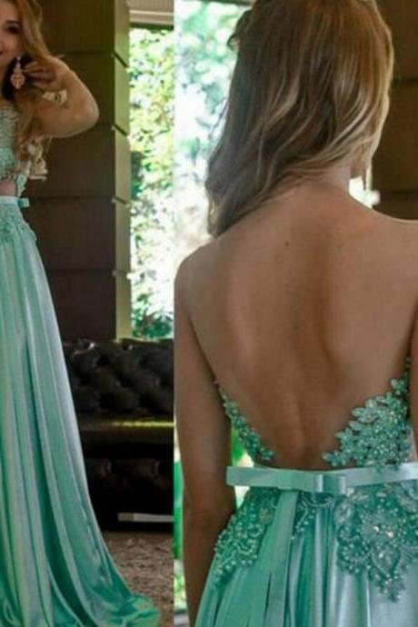 Sexy Backless Green Lace Prom Dress With Appliqued Plus Size Formal Evening Dress, Wedding Party Gowns 2020