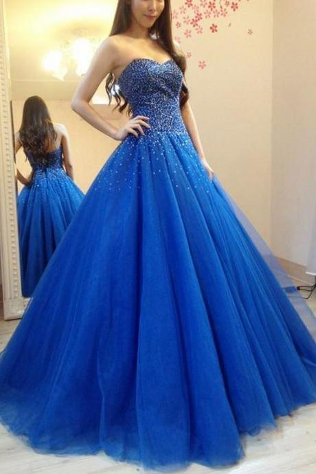 New Arrival Blue Beaded A Line Long Prom Dress Off Shoulder Women Party Gowns ,Sexy Sweet 16 Quinceanera Dresses