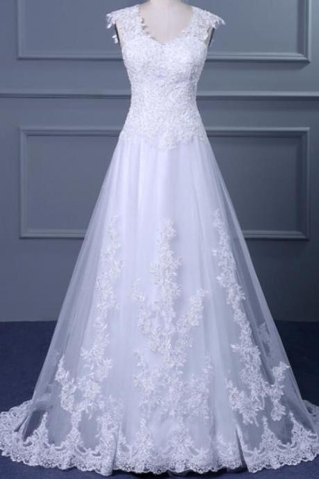 Charming Custom Made A Line White Lace Wedding Dress ,Cheap Women Bridal Gowns