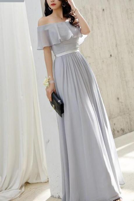 Off Shoulder Floor Length Bridesmaid Dress Strapless Long Bridesmaid Party Gowns , Long Prom Party Gowns