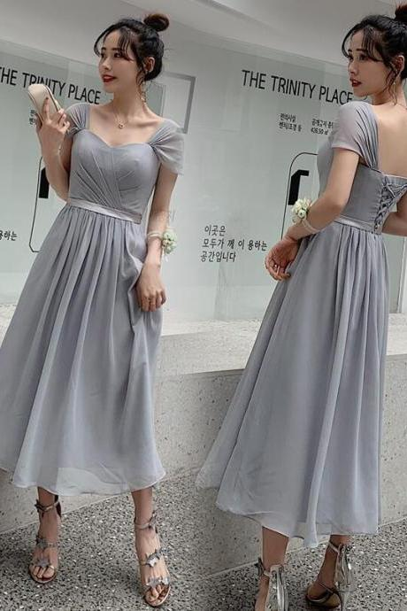 New Arrival Light Silver Chiffon Short Bridesmaid Dress Custom Made Women Party Gowns ,Wedding Guest Gowns 2020