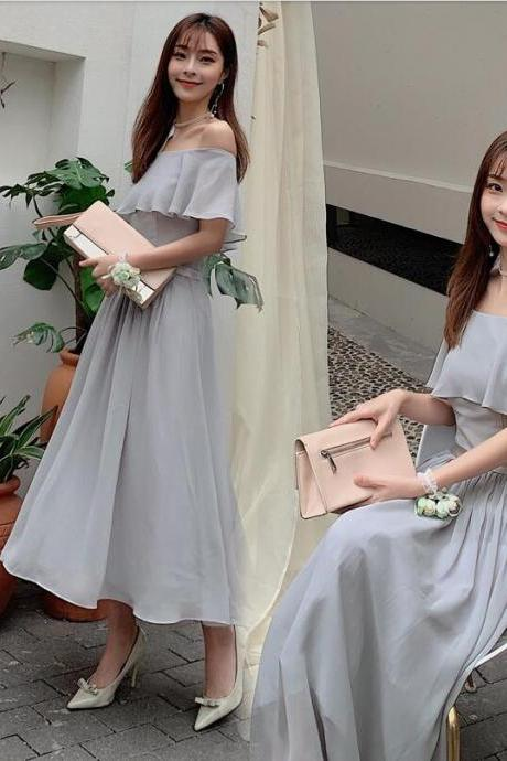 Simple Silver Chiffon Off Shoulder Long Bridesmaid Dress Custom Made Wedding Party Gowns 2020 Prom Party Gowns