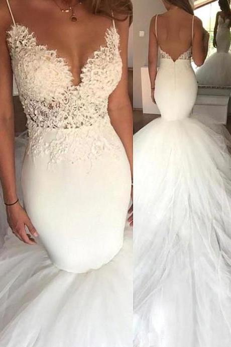 Spaghetti Strap White Lace Mermaid Wedding Dress With Appliqued Plus Size Tulle China Bridal Gowns 2020