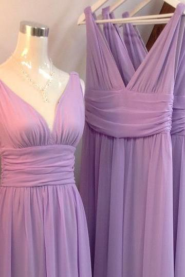 Sexy A Line Cheap Purple Chiffon Long Bridesmaid Dress ,Plus Size Maid Of Honor Gowns ,Custom Made Bridesmaids Dresses