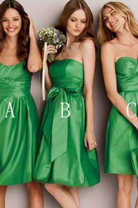 Cheap Green Satin Ruffle Short Bridesmaid Dress, Short Homecoming Dress, Custom Made Junior Party Gowns