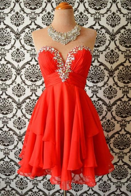 nEW Arrival Red Chiffon Beaded Short Homecoming Dress Sweet 16 Junior Party Gowns Custom Made Cocktail Party Gowns