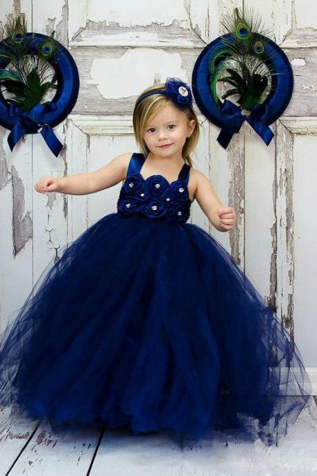New Arrival Navy Blue Tulle A Line Wedding Flower Girls Dresses Spaghetti Strap Cute Prom Party Gowns ,Cheap Flower Girls Dress 2020