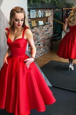 Red Satin Spaghetti Strap Prom Dress Short 2020 Off Shoulder Short Homecoming Dress ,Tea Length Mini Prom Gowns